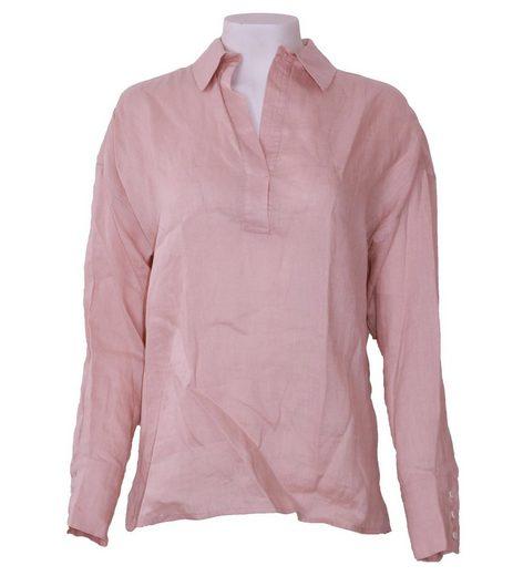 Oui Blusentop »OUI Bluse gemütlich schlichte Damen Langarm-Bluse Freizeit-Bluse im Vokuhila-Stil Altrosa«