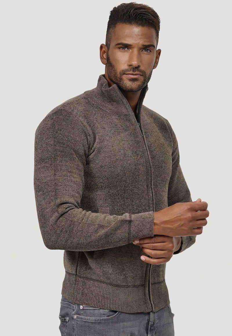 Max Men Cardigan »3798« (1-tlg) Herren Strickjacke Velours Sweatshirt Full Zip Longsleeve Gefüttert