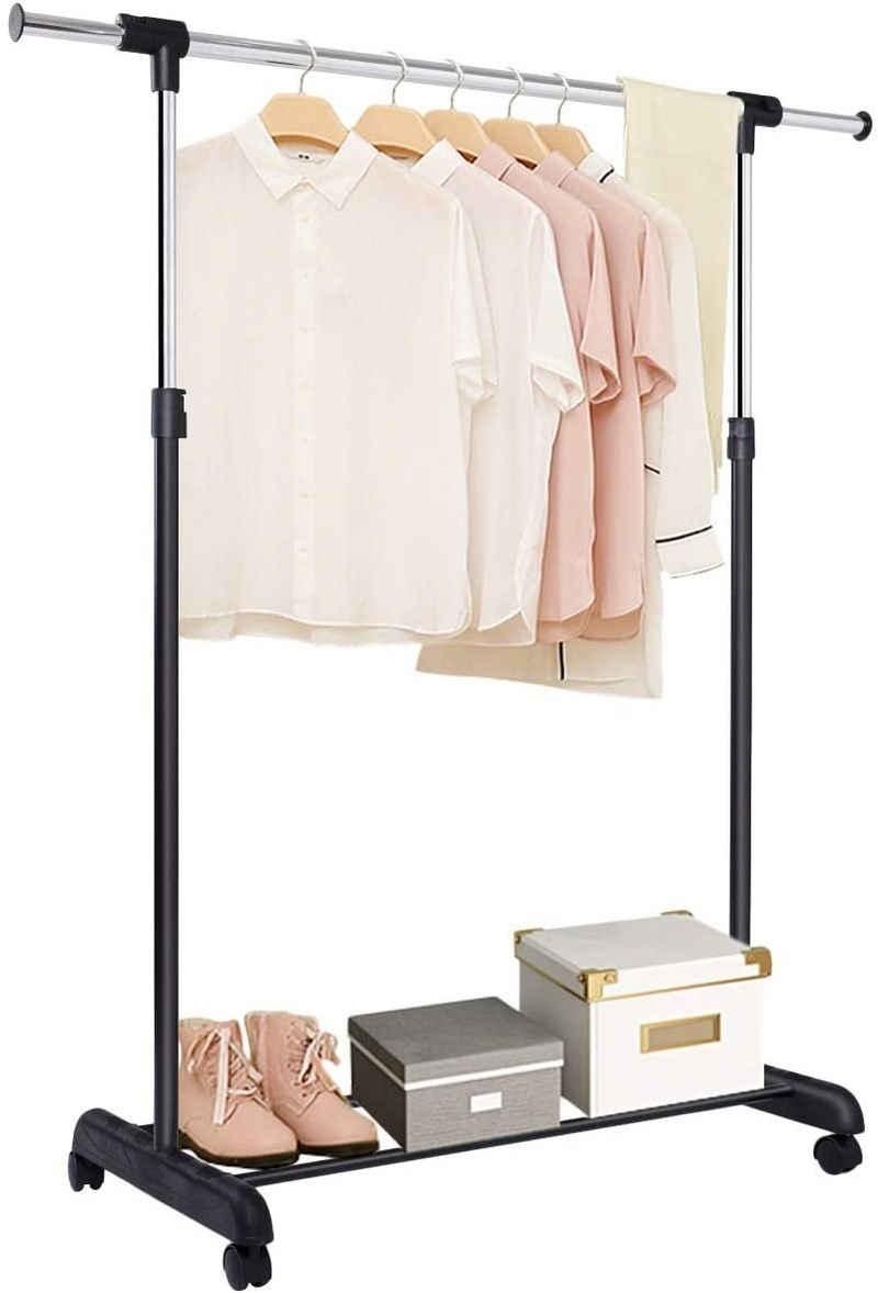 COSTWAY Kleiderständer »Kleiderstange, Garderobenwagen, Rollgarderobe«, auf Rollen, mit Ablage, Höhenverstellbar, Kleiderwagen Stabil