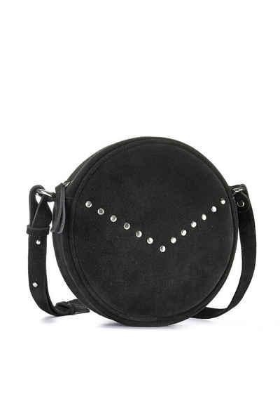LASCANA Umhängetasche, aus Leder, runde Minibag mit modischen Nieten