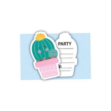 Procos gestanzte Einladungskarten mit Umschlägen Cactus, 6 Stück