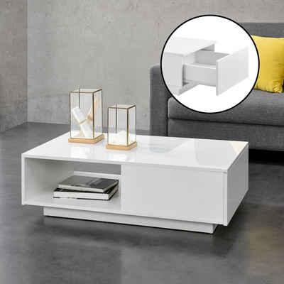 en.casa Couchtisch, »Biskra« Wohnzimmertisch mit Schublade und Ablage hochglanz weiß