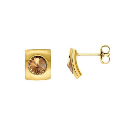Heideman Paar Ohrhänger »Quadro Gold«, mit Swarovski Stein weiß oder Farbstein