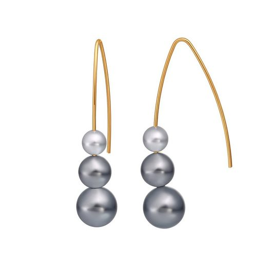 Heideman Paar Ohrhänger »Auris II Gebogen Vergoldet« Perlenohrringe mit Perle weiß oder farbig