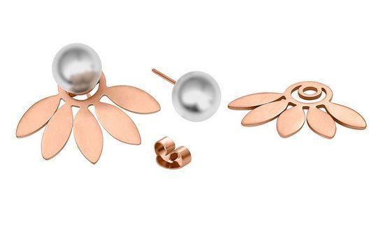 Heideman Paar Ohrhänger »Flora 8 Rose Vergoldet«, hinten und vorne Ohrringe doppel ohrringe