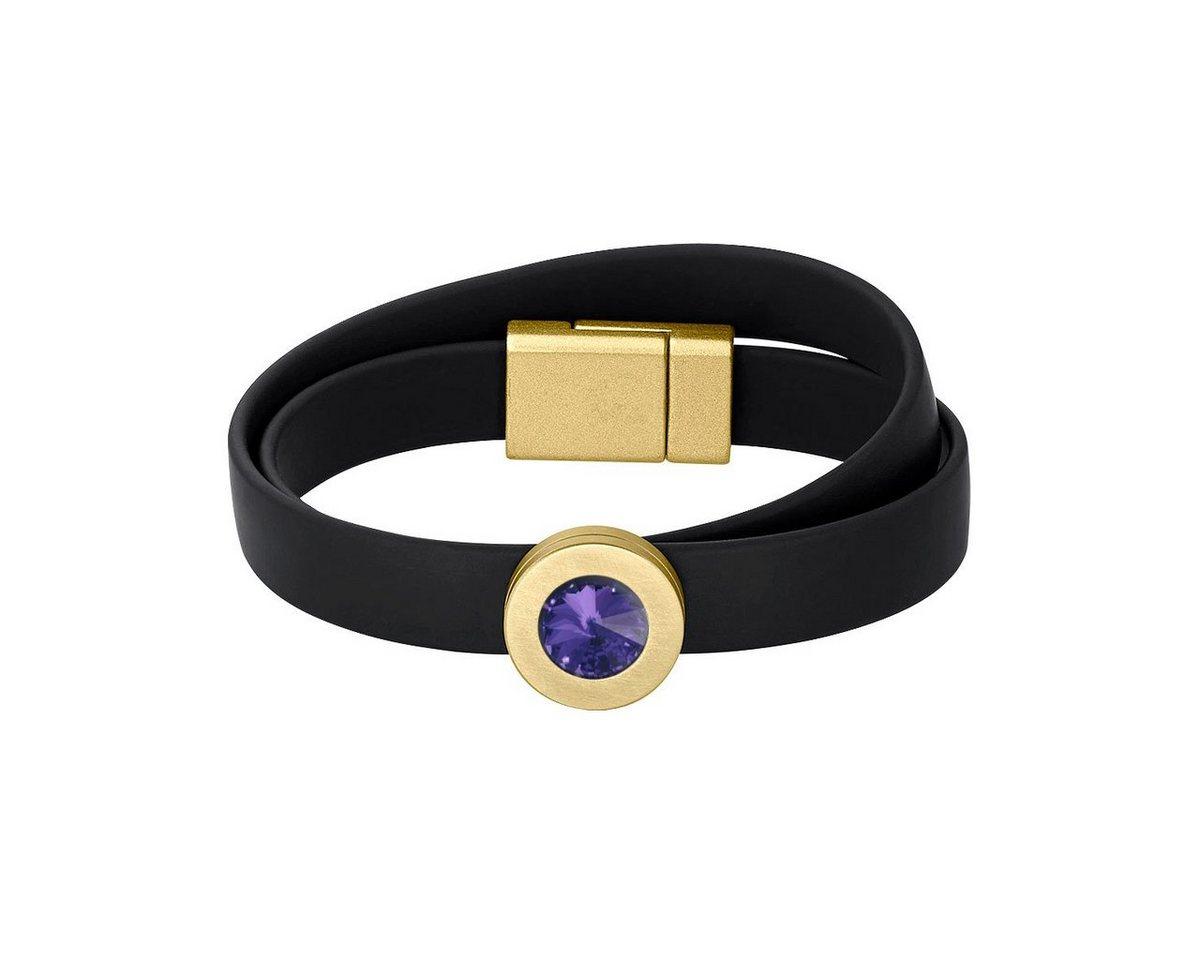 Heideman Armband »Colori Schwarz Vergoldet« mit Stein wechselbar | Schmuck > Armbänder > Goldarmbänder | Lila | Heideman