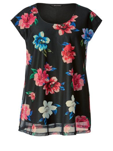 Sara Lindholm by Happy Size Mesh-Tunika mit Blumen-Print