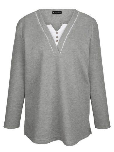 m. collection Sweatshirt mit kontrastfarben unterlegtem V-Ausschnitt