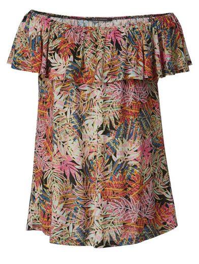 Sara Lindholm by Happy Size Carmen-Shirt mit Blumen-Print und Volant