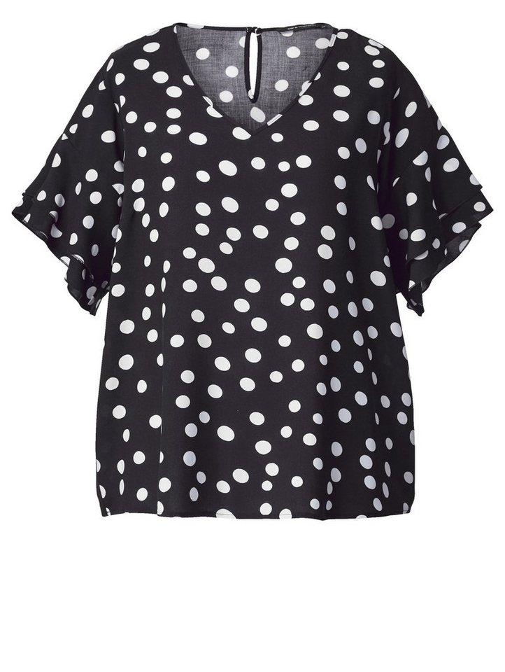 a27af5c81efb97 Sara Lindholm by Happy Size Bluse gepunktet mit Volants online ...
