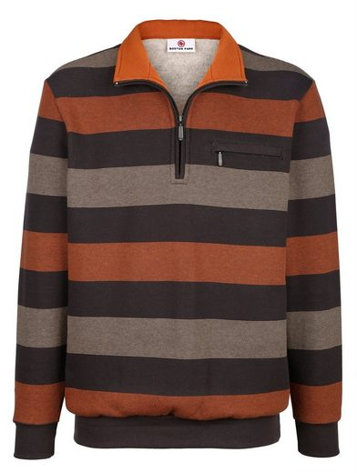 Boston Park Sweatshirt mit garngefärbtem Streifenmuster