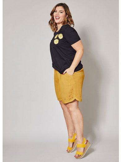 Angel of Style by Happy Size Shorts mit Perlchen und Stickerei