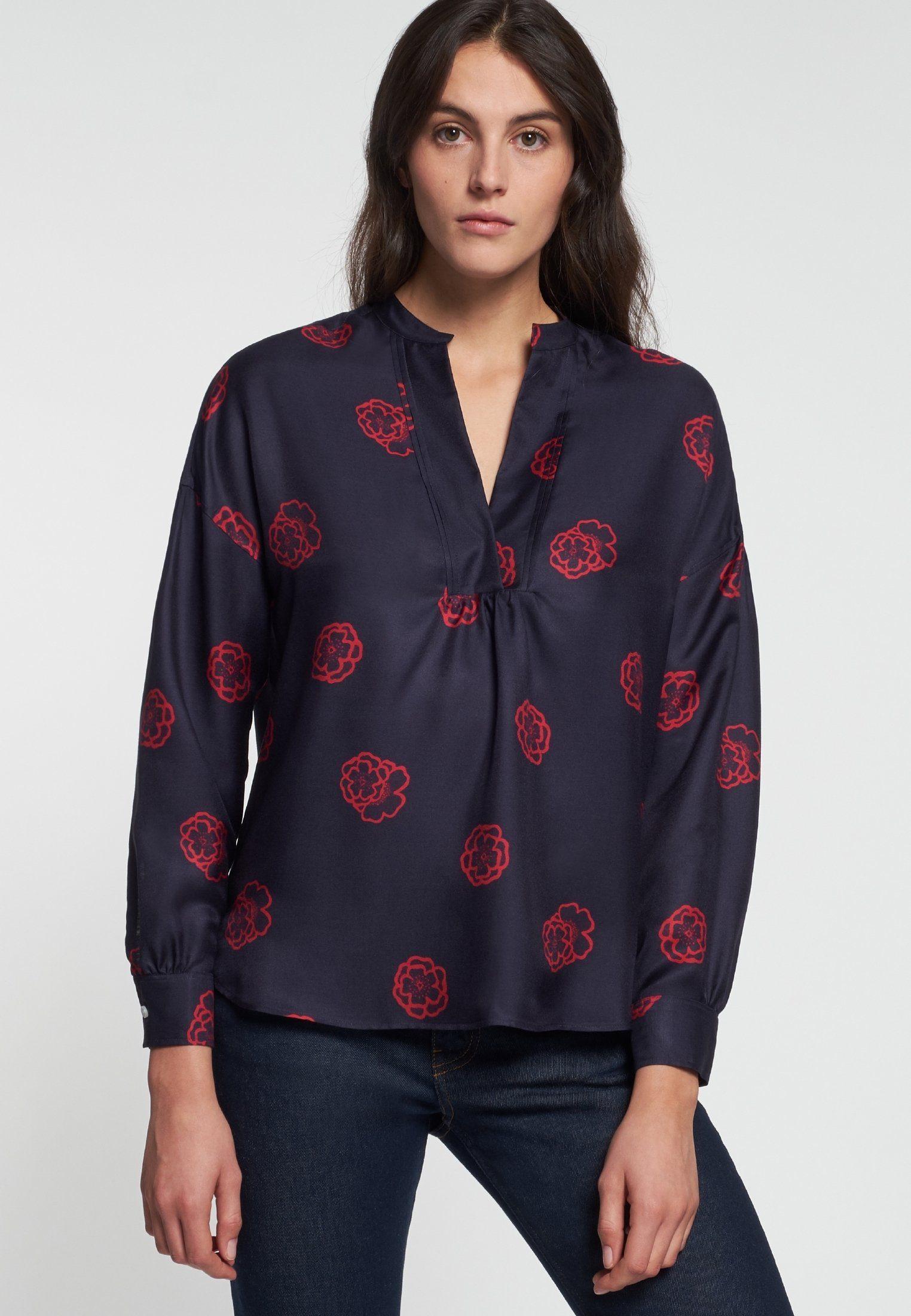 seidensticker Schlupfbluse »Schwarze Rose« Langarm Kragen Print