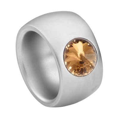 Heideman Fingerring »Coma 14 Glanzmatt« (1-tlg), Damenring mit Stein weiss oder farbig