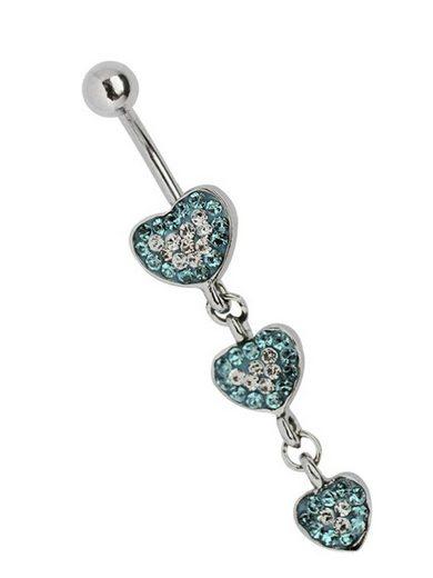 Adelia´s Bauchnabelpiercing »Bauchnabelpiercing«, Titan Banane - Zirkonia Herz mit kleinen Steinen hellblau