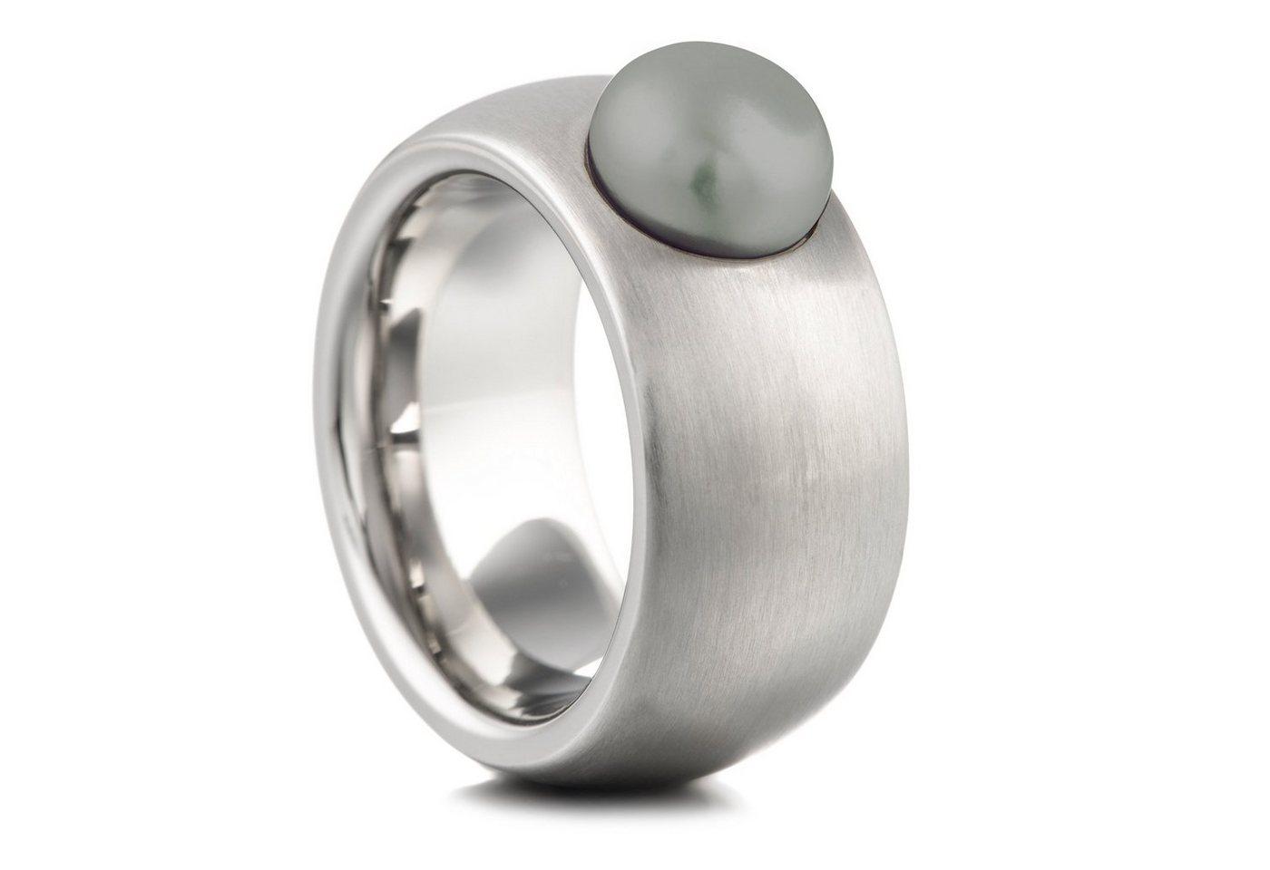 Heideman Perlenring »Coma 11 Strichmatt« Damenring mit Swarovski Perle   Schmuck > Ringe > Perlenringe   Grau   Heideman