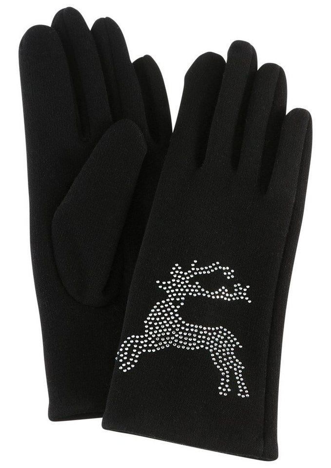 PURSET Baumwollhandschuhe mit Trachtenmotiv | Accessoires > Handschuhe > Wollhandschuhe | Schwarz | PURSET