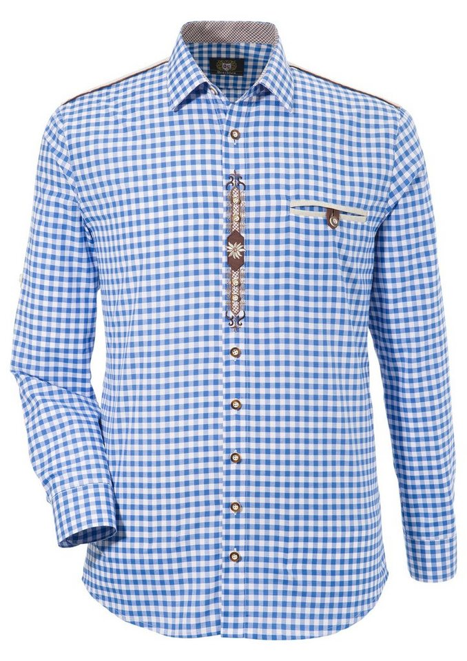OS-Trachten Trachtenhemd mit Krämpelärmeln und Stickerei   Bekleidung > Hemden > Trachtenhemden   Blau   OS-Trachten