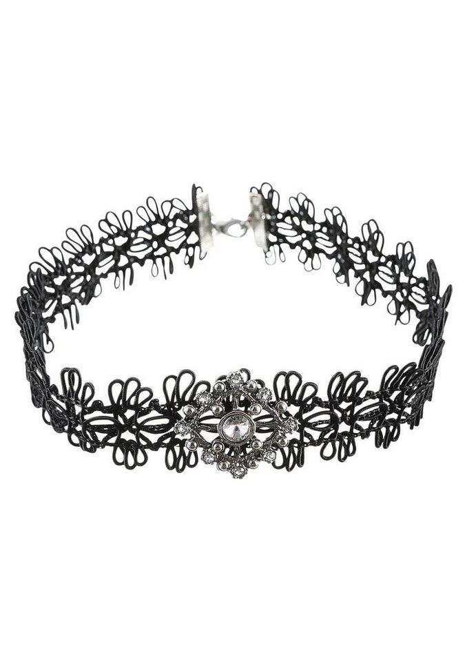 Lusana Halsband mit strassbesetzter Brosche | Schmuck > Halsketten > Halsbänder | Schwarz | Lusana