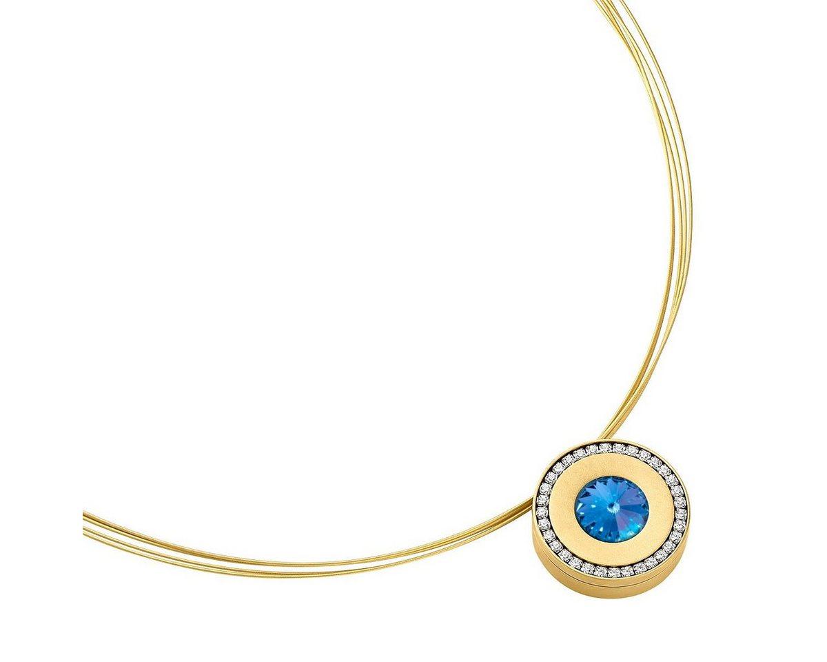 Heideman Kettenanhänger »lumen II gold« mit Wechselstein weiß und farbig | Schmuck > Halsketten > Ketten ohne Anhänger | Blau | Heideman