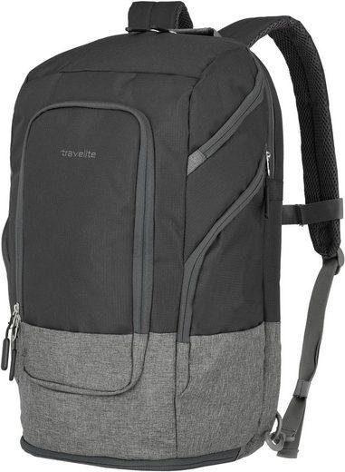 travelite Laptoprucksack »Basics L, 48 cm, schwarz«, Trolley-Aufsteck-System