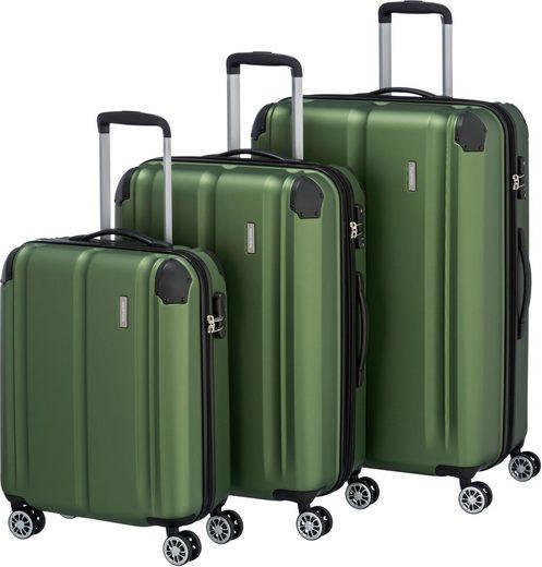 travelite Trolleyset »City, grün«, 4 Rollen, (3 tlg)