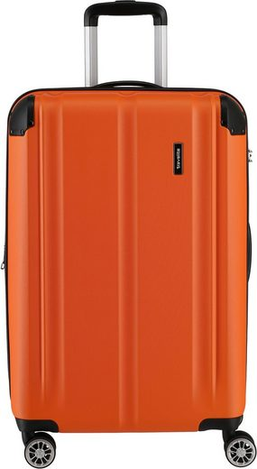 travelite Hartschalen-Trolley »City, 68 cm, orange«, 4 Rollen, mit Volumenerweiterung