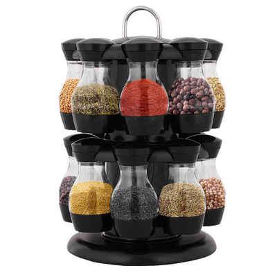 COSTWAY Gewürzregal »Gewürzebehälter, Gewürzständer«, drehbar, mit 16 Gewürzdosen, 2 Etagen, ABS