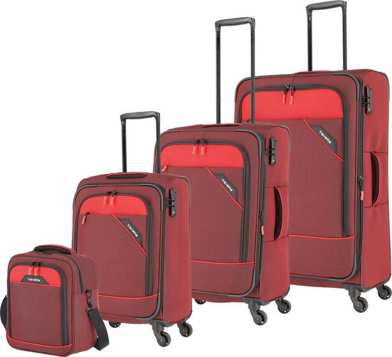 travelite Trolleyset »Derby, rot«, 4 Rollen, mit Bordtasche