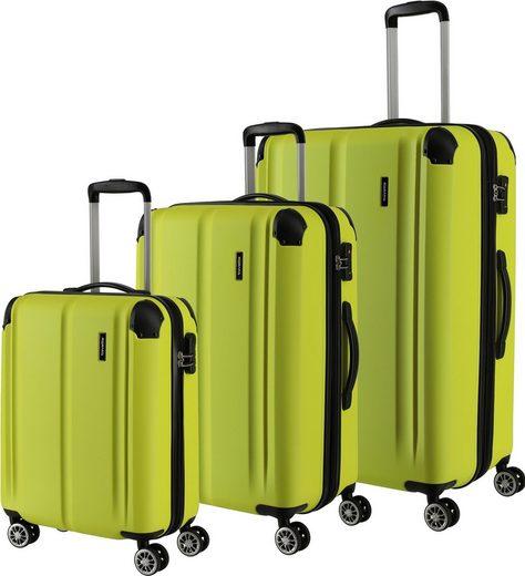 travelite Trolleyset »City, limone«, 4 Rollen, (3 tlg)