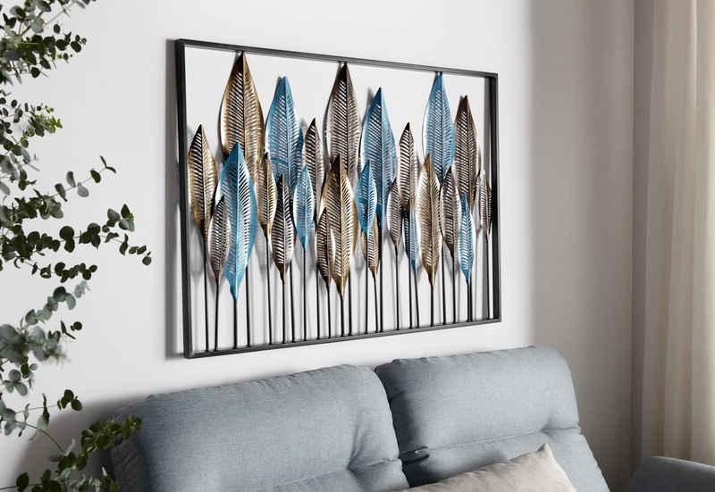 Home affaire Wanddekoobjekt »Feder«, Wanddeko, Wanddekoration, aus Metall, Motiv Federn