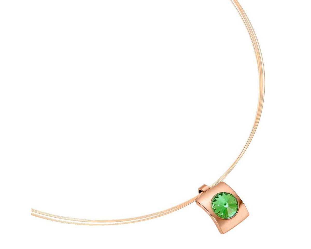 Heideman Kettenanhänger »Quadro Roségold« mit Stein von Swarovski | Schmuck > Halsketten > Ketten ohne Anhänger | Grün | Heideman
