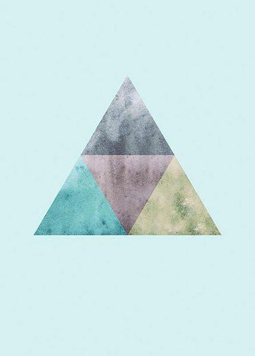 Komar Poster »Triangles Top Blue«, Abstrakt