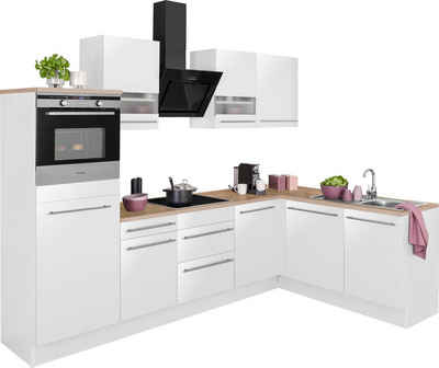 OPTIFIT Winkelküche »Bern«, mit Hanseatic E-Geräten, Stellbreite 285 x 175 cm, mit Induktionskochfeld, gedämpfte Türen und Schubkästen, höhenverstellbare Füße, Metallgriffe