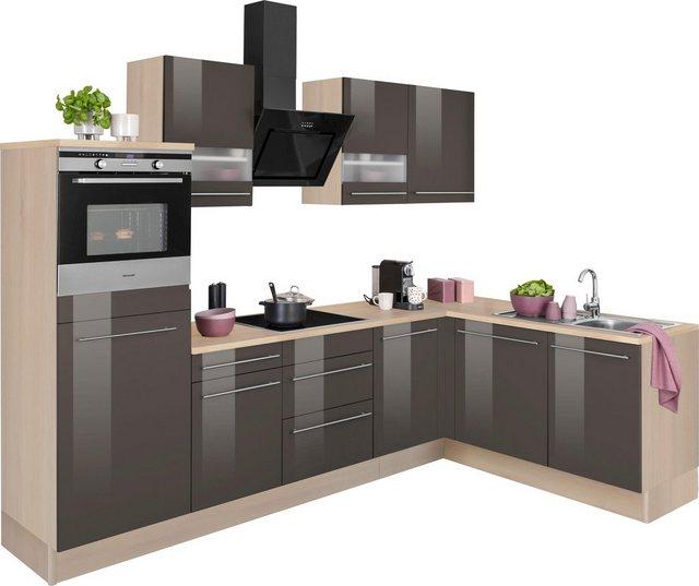 Einbauküchen - OPTIFIT Winkelküche »Bern«, mit Hanseatic E Geräten, Stellbreite 285 x 175 cm  - Onlineshop OTTO