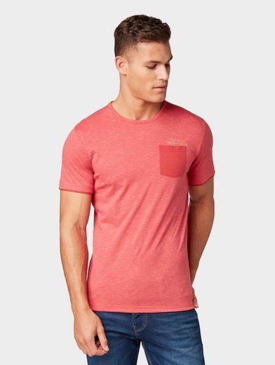 TOM TAILOR T-Shirt »Gestreiftes T-Shirt mit Underlayer«