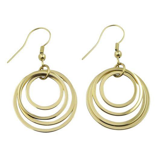 Heideman Paar Ohrhänger »Ohrhänger Gelbgold goldfarbend«, Dreifach und groß