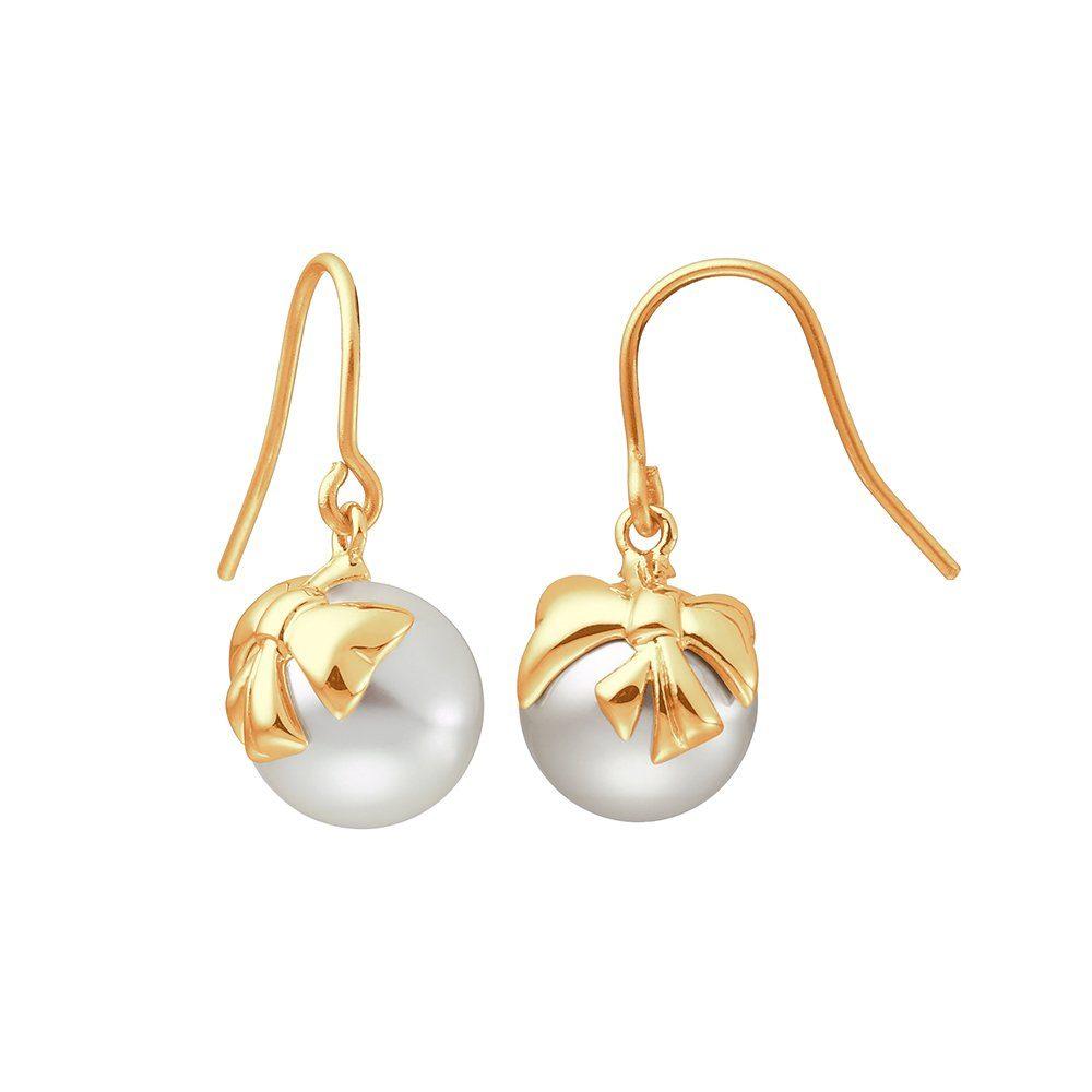 Ohrringe Ohrhänger mit Perlen und Zirkonia in goldfarben