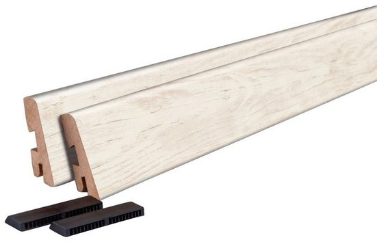 EGGER Sockelleiste »L204 - Villefort Pinie weiss«, 6 cm Sockelhöhe, 120 cm Länge, 2-er Set