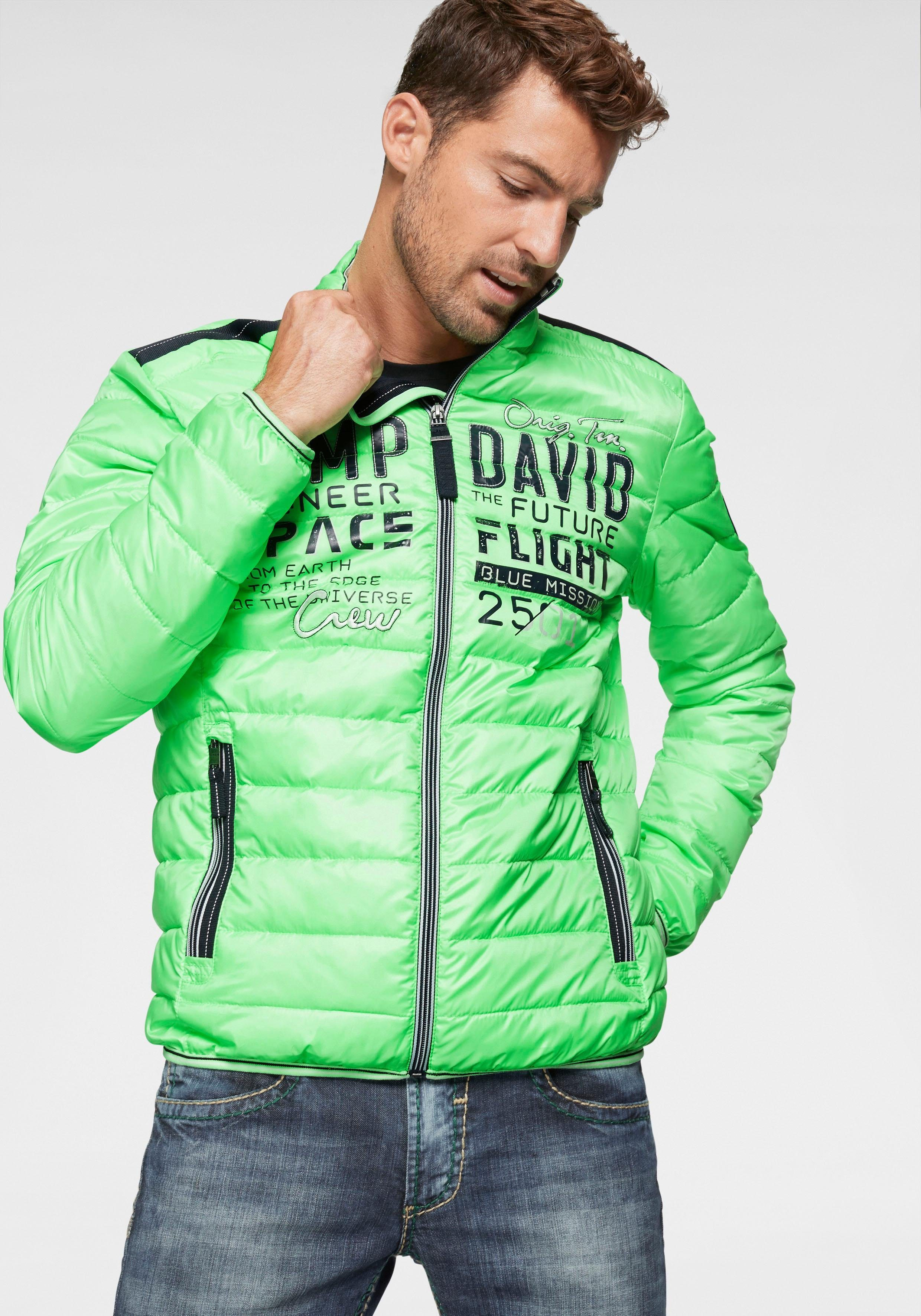 Camp David Steppjacke mit Logo Print Outdoorjacken grün