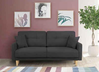 Home affaire 2-Sitzer »Triplo«, mit Steppung im Rückenbereich, Zierkissen