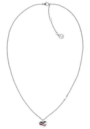 TOMMY HILFIGER Herzkette »CASUAL CORE, 2780128« mit Glasstein und Emaille