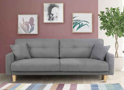 Home affaire 3-Sitzer »Triplo«, wahlweise mit Bettfunktion und Bettkasten, Zierkissen