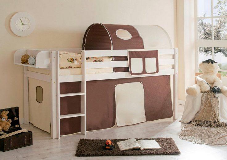 Ticaa Hochbett »Malte« mit Rolllattenrost und Textil-Set