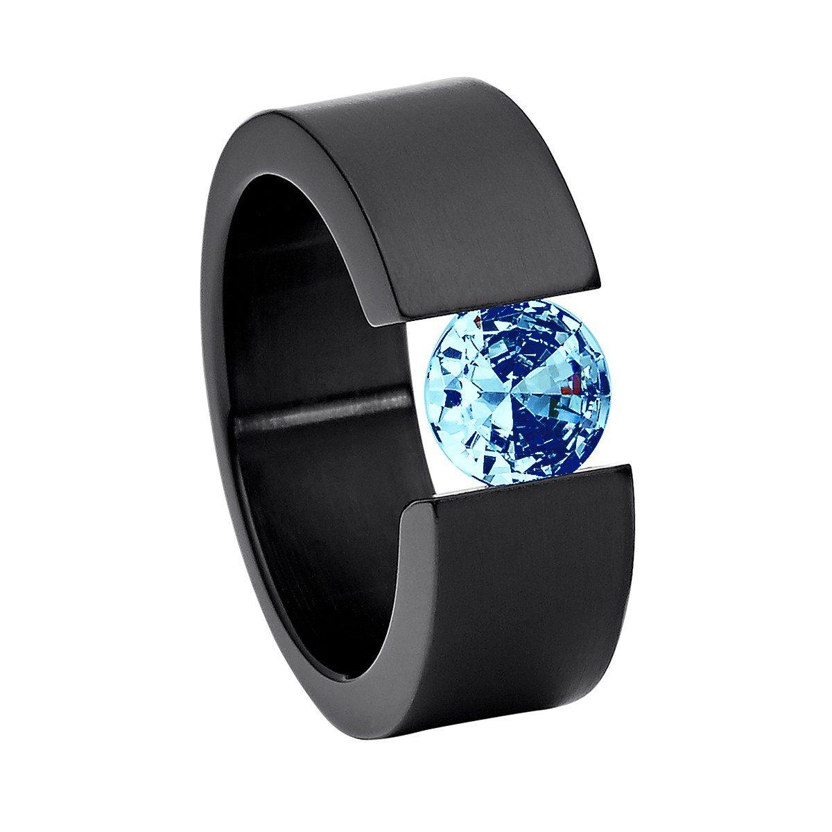 Keramik Edelstahl Ring Weiß Schwarz Silber Zirkonia viele Größen Damen Frauen