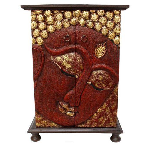 Oriental Galerie Mehrzweckschrank »Schrank Wandschrank Holzschrank Kommode Flurschrank 90cm Buddha Rot 90 c« Handarbeit
