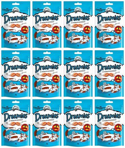 Dreamies Katzensnack »Lachs«, 12 Beutel á 60 g
