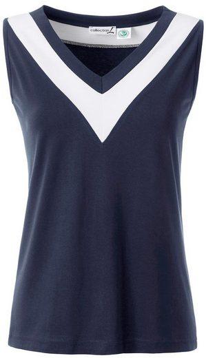Casual Looks Shirttop mit kontrastfarbigem Beleg am Ausschnitt