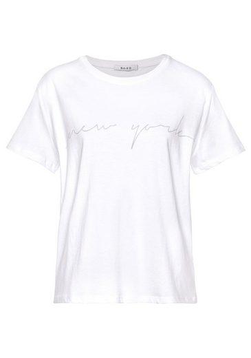 NA-KD Kurzarmshirt »827« cooles Logoshirt mit Frontprint NEW YORK im Oversized Schnitt