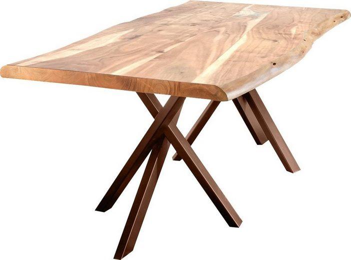 SIT Esstisch »Tables« mit Baumkante und extravagantem Gestell aus Metall